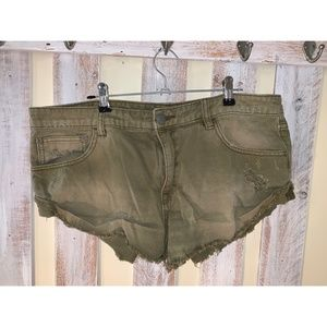 Free People Cut-off Olive Green Denim Shorts